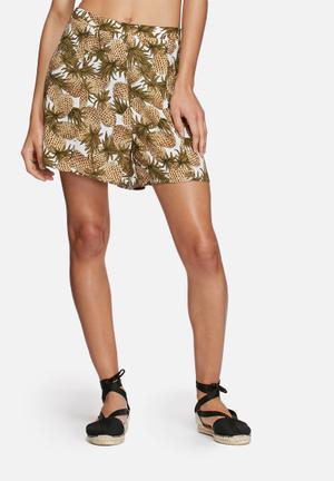 Glamorous Pineapple Shorts  Cream, Green & Brown