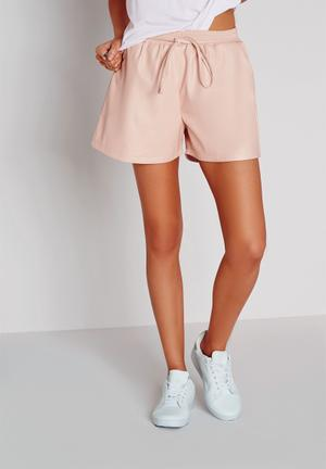 Missguided Tie Waist Faux Leather Shorts  Nude