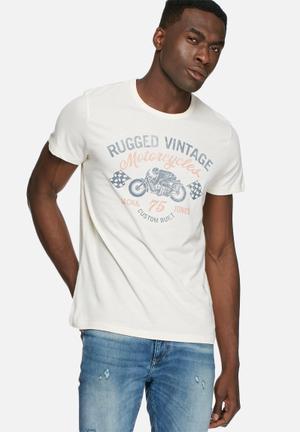 Jack & Jones Vintage Re-run Tee T-Shirts & Vests White