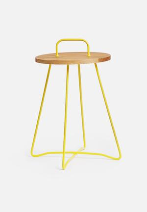 Sixth Floor X Table Powder Coated Base & Handle With Wooden Top