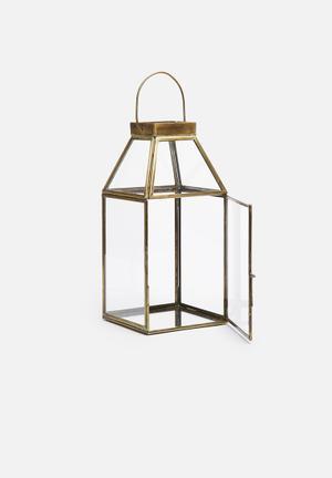 Sixth Floor Neva Tall Lantern Accessories Brass & Glass