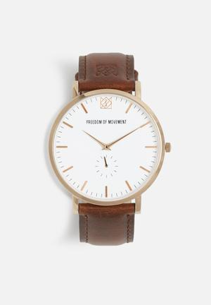 Freedom Of Movement The Jesse Watches Brown & Rose Gold