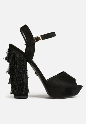 Daisy Street Carin Tassel Platforms Heels Black