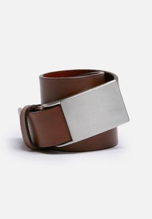 Selected Homme Plate Belt Brown