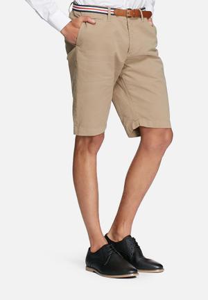Jack & Jones Jeans Intelligence Lorenzo Belted Shorts Stone