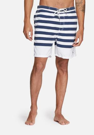 Jack & Jones Jeans Intelligence Barts Swim Shorts Swimwear Navy & White