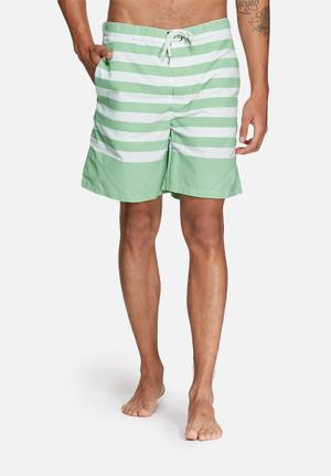 Jack & Jones Originals Barts Swim Shorts Swimwear Green & White
