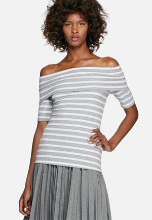 Dailyfriday Rib Off-shoulder Short Sleeve Striped Top T-Shirts, Vests & Camis Grey & White
