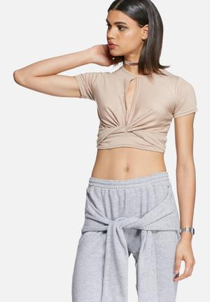Daisy Street Knot Crop Tee T-Shirts, Vests & Camis Nude
