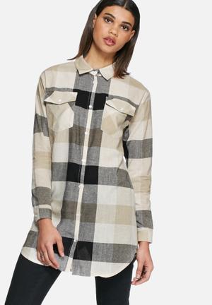 Daisy Street Check Shirt Beige & Black