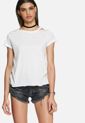 Daisy Street Victoria Distressed Tee T-Shirts, Vests & Camis White