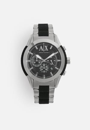 Armani Exchange Coronado Watches Silver & Black