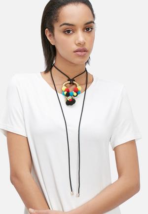 Pichulik Wanderlust Pom-pom Necklace Jewellery Black, Gold, Yellow, Blue & Red