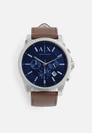 Armani Exchange Dress Watch Blue With Brown Strap
