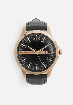 Armani Exchange Dress Watch Rose Gold With Black Strap