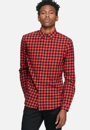 Only & Sons Seth Slim Shirt Red & Black