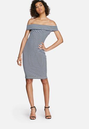 Dailyfriday Bardot Off Shoulder Dress Occasion White & Navy