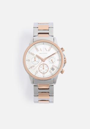 Armani Exchange Dress Watch Silver & Rose Gold