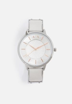 Armani Exchange Dress Watch Silver With White Band