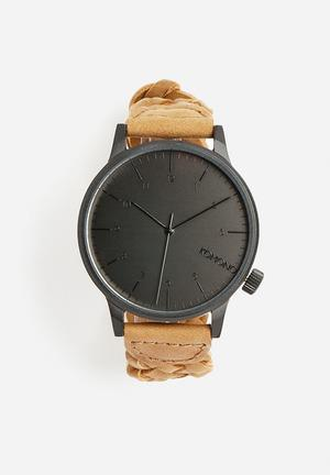 Komono  Winston Woven Watches Chestnut / Black