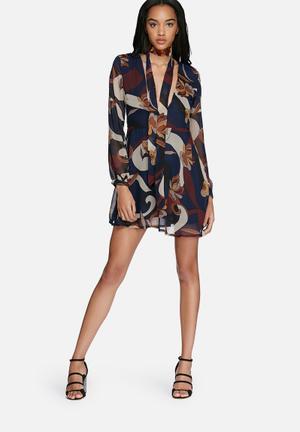 Glamorous Swirl Floral Neck Tie Dress Formal Navy, Orange & Brown