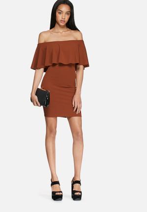 Dailyfriday Off Shoulder Bodycon Dress Occasion Marsala