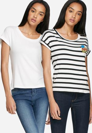 Dailyfriday Badge Roll Sleeve Tee 2 Pack T-Shirts, Vests & Camis White / White & Black