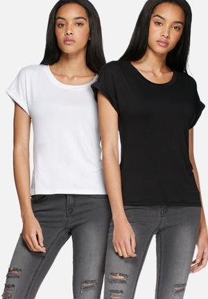 Dailyfriday Roll Sleeve 2 Pack T-Shirts, Vests & Camis Black & White