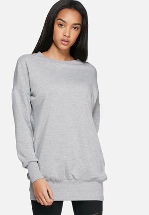 Dailyfriday Longline Sweat Top Hoodies & Jackets Grey