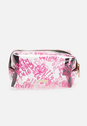Skinnydip Pretty Cute Make Up Bag Clear / Pink