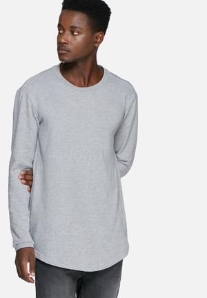 Basicthread Loopback Curved Hem Sweat Hoodies & Sweatshirts Grey