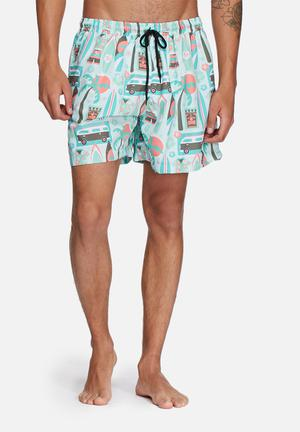 The Lot Surf's Up Swim Shorts Swimwear Mint / Green / Coral
