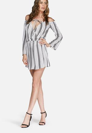 Missguided Off Shoulder Stripe Skater Dress Casual White