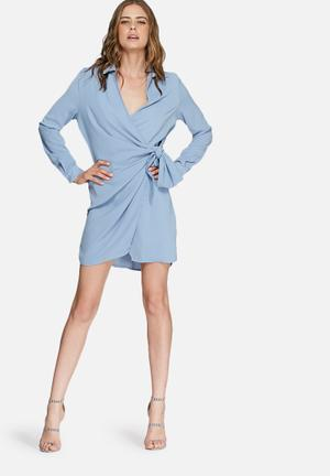 Missguided Crepe Wrap Shirt Dress Formal Blue