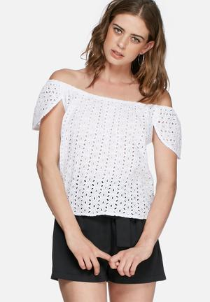 Missguided Lace Off Shoulder Blouse White