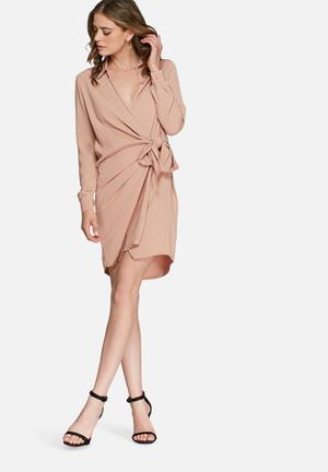 Missguided Crepe Wrap Shirt Dress Formal Nude