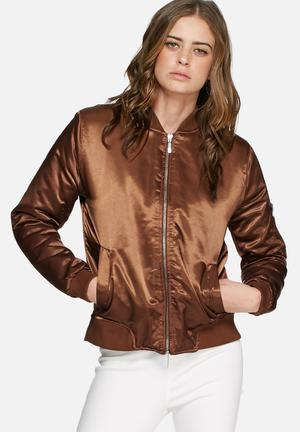 Missguided Satin Bomber Jacket Brown