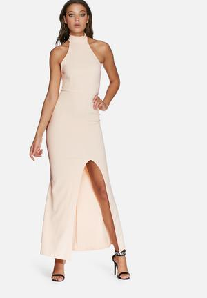 Missguided High Neck Maxi Dress Occasion Nude