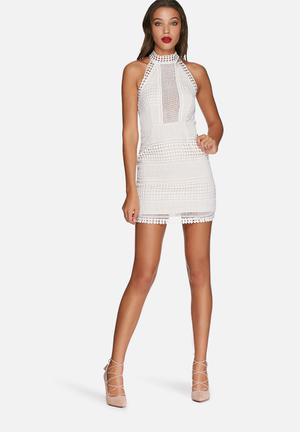 Missguided Structured Lace Bodycon Dress Occasion White