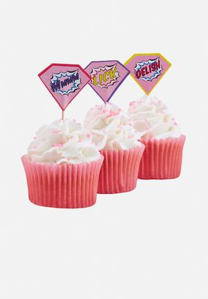 Ginger Ray Pop Art Cupcake Toppers Partyware Paper