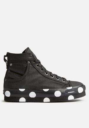 Diesel  Exposure Flatform Sneakers Black & White