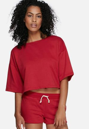 Dailyfriday Boxy Sweat Top T-Shirts, Vests & Camis Red