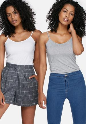 Dailyfriday Step Back Cami - 2 Pack Whire & Grey