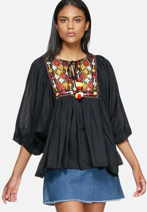 Glamorous Embroidered Tunic Blouses Black