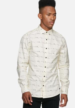 Only & Sons Sigfred Slim Shirt Cream, Black, Red & Blue