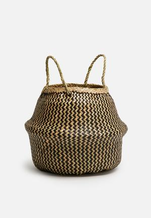 Sixth Floor Zigzag Small Belly Basket Accessories Seagrass