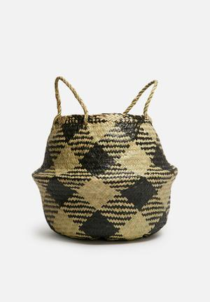 Sixth Floor Plaid Small Belly Basket Accessories Seagrass