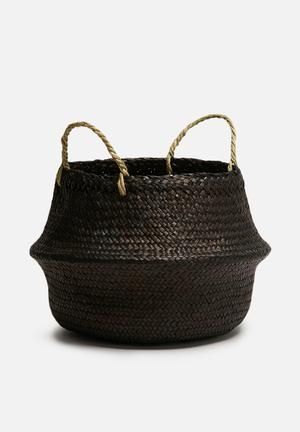 Sixth Floor Onyx Small Belly Basket Accessories Seagrass