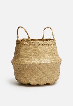 Sixth Floor Natural Small Belly Basket Accessories Seagrass