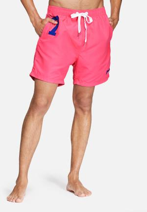 Superdry. Miami Waterpolo Shorts Swimwear Pink, Blue & White